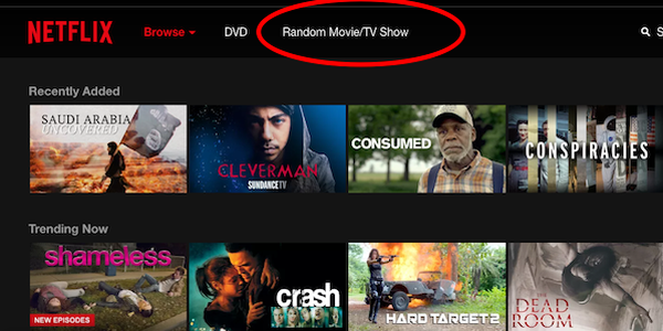 """Can't choose? Add a """" rondom""""  button to Netflix!"""
